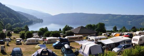 Camping Terrasse a Pesenthein vista sul lago Millstatter