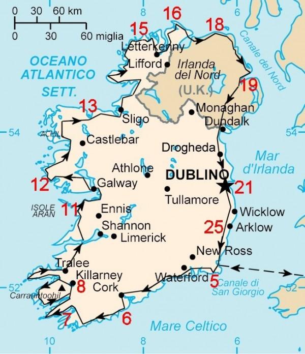 Mappa del viaggio in camper in Irlanda | agosto 2011