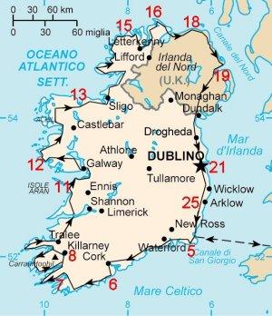 Mappa Irlanda viaggio Tommaso
